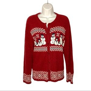 CARROLL REED Vintage Red Snowman Long Sleeves Buttons Christmas Cardigan Large